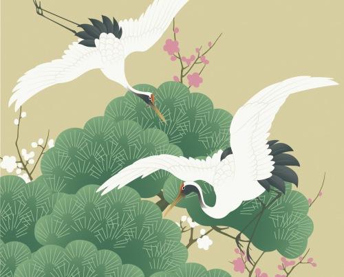 Flying Tsuru (crane) Pine and plum blossoms